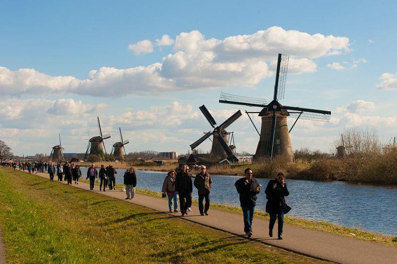 Windmills and Tourists van Brian Morgan
