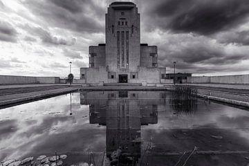 Radio Kootwijk Bâtiment A en noir et blanc sur Fotografie Ronald