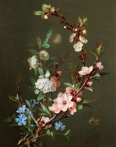 Ein Stillleben mit Kirschblütenzweigen, Jean-Baptiste Gallet von Meesterlijcke Meesters