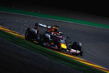 Max Verstappen lors du grand prix de Belgique de formule 1 à Spa-Francorchamps sur Rubin Versigny