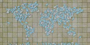 Wereldkaart mondkapjes van Frans Blok
