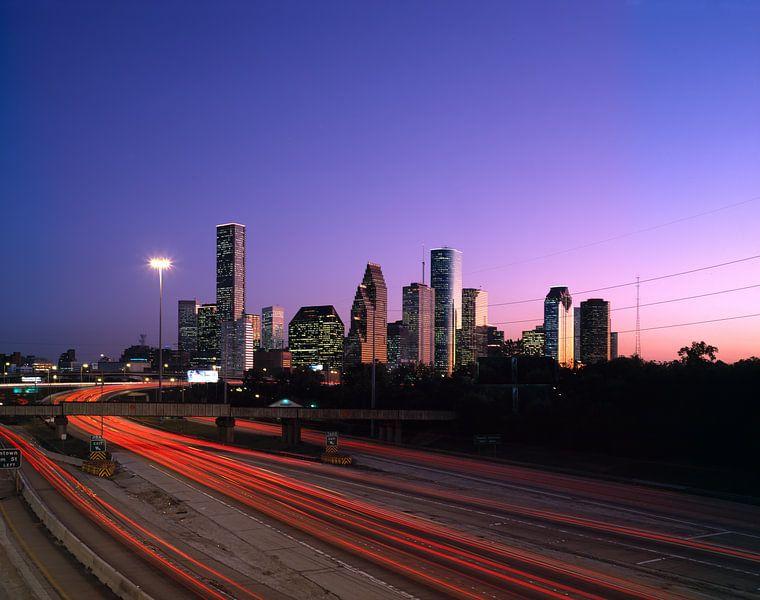 Skyline van Houston in de ochtend - 1980s van Zeger Knops