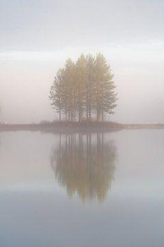 Klein eiland in de mist. van Axel Weidner