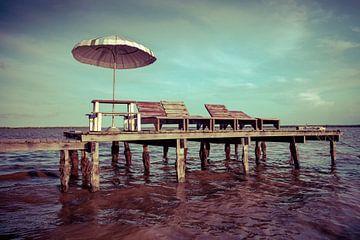 Steiger met parasol en ligstoelen in de Bigi Pan lagune, Suriname van Marcel Bakker