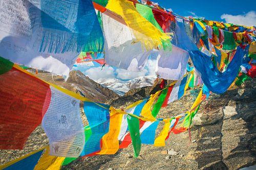 Gebedsvlaggen in de Himalaya, Tibet