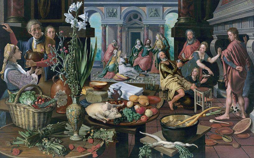Stillleben mit Christus im Haus von Martha und Maria, Pieter Aertsen von Meesterlijcke Meesters