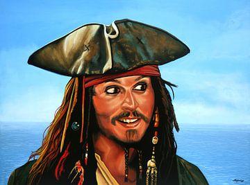 Johnny Depp als Jack Sparrow Schilderij van Paul Meijering
