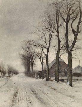 Winterlandschaft mit Bauernhof an einer Allee, Louis Apol