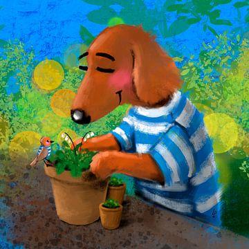 Teckel Tobie houdt van tuinieren van Linda van Putten