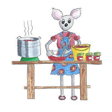 Muis vrouw kookt jam van fruit van Ivonne Wierink