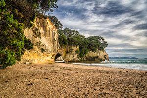 Het strand bij Cathedral Cove