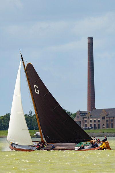 Skûtsje zeilboot op het IJsselmeer van Sjoerd van der Wal