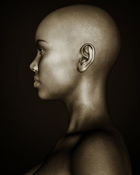 Vrouw Portret - Zwart-wit Profiel van een Afrikaans Meisje van Jan Keteleer