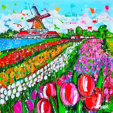 Vrolijke tulpen met molen van Vrolijk Schilderij