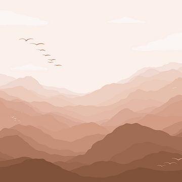 Berg uitzicht met vogels - pastel roze van Studio Hinte