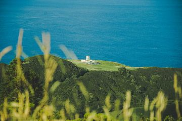 Blauer Ozean, grüne Landschaften mit einem Leuchtturm. von Isai Meekers
