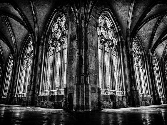 Kloostergang Dom, Utrecht (zwart wit)