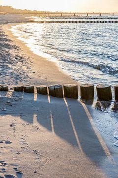 Kribben op het strand van Zingst, Oostzee van Christian Müringer