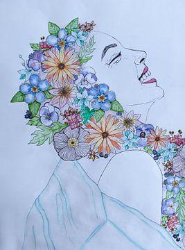 Bloemenmeisje van Liv Jongman