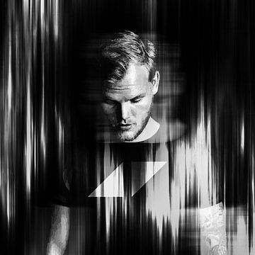 Avicii Tim Bergling Abstract Portret Zwart Wit van Art By Dominic