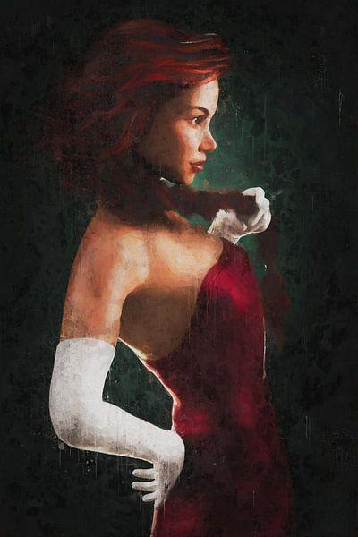 Rood Geschilderd Portret van Arjen Roos