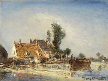Häuser an einer Wasserstraße bei Crooswijk, Johan Barthold Jongkind