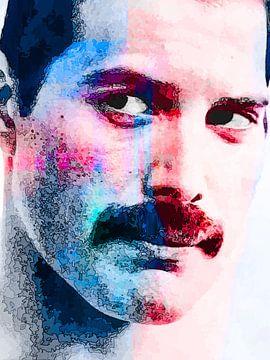 Freddie Mercury Abstraktes Porträt in Blau Rot von Art By Dominic