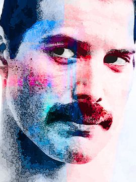 Freddie Mercury Abstract Portret in  Blauw Rood van Art By Dominic