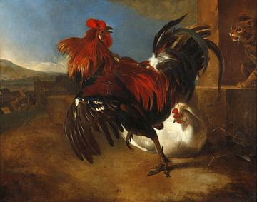 Pluimveehouderij met boze haan, Melchior d'Hondecoeter van