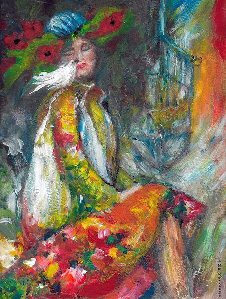Pierrotje met haar duifje. van Ineke de Rijk