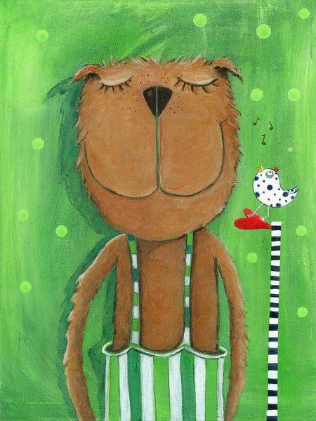 Mr. Bear houdt Muziek - Schilderij voor Kinderen van Atelier BuntePunkt