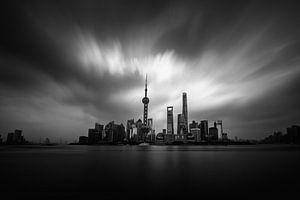 """Photo noir et blanc du """"bund"""" à Shanghai"""