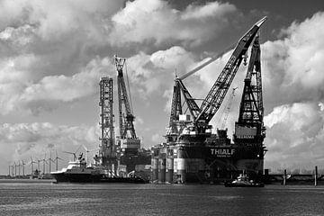 Kraanschepen Thialf en Balder te Rotterdam van Anton de Zeeuw