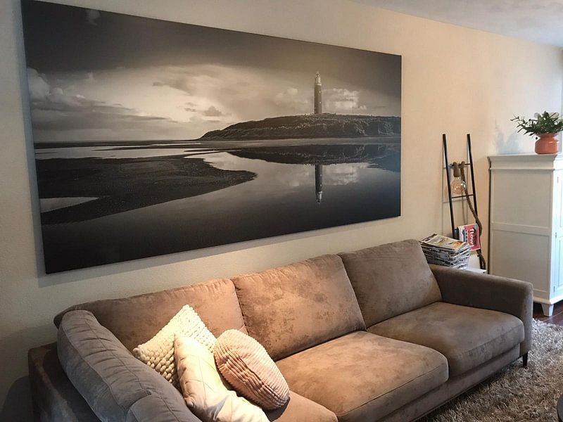 Klantfoto: Vuurtoren Texel reflectie van Chris van Es, op canvas