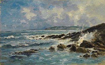 Carlos de Haes-Zeegolven Rifflandschaft, blaue Meereslandschaft, antike Landschaft