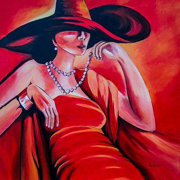 dame in rood van Angelique van den Berg