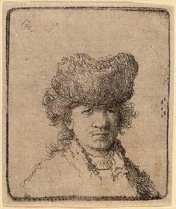 Rembrandt van Rijn, Zelfportret in een bont muts, 1630, ets van