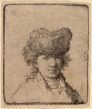 Rembrandt van Rijn, Selbstbildnis in einer Pelzmütze