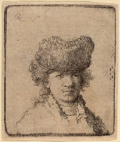 Rembrandt van Rijn, Selbstbildnis in einer Pelzmütze von Rembrandt van Rijn