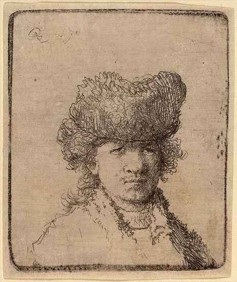 Zelfportret in een bont muts