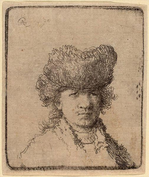 Rembrandt van Rijn, Zelfportret in een bont muts, 1630, ets van Rembrandt van Rijn