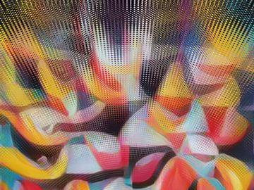 Abstract stippel patroon in rood blauw geel van Maurice Dawson