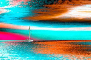 Bootje op zee van Elroy Spelbos