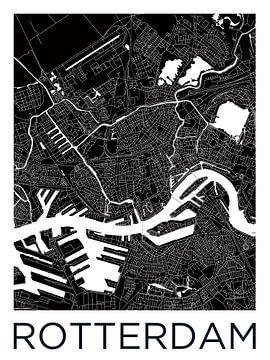 Rotterdam | Stadtplan schwarz weiß von Wereldkaarten.Shop