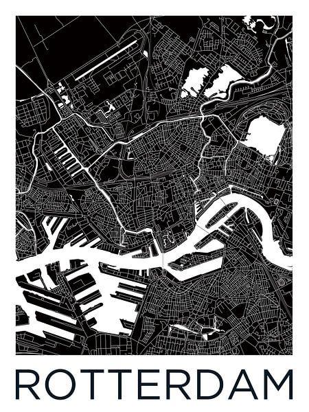 Rotterdam | Stadskaart ZwartWit van Wereldkaarten.Shop