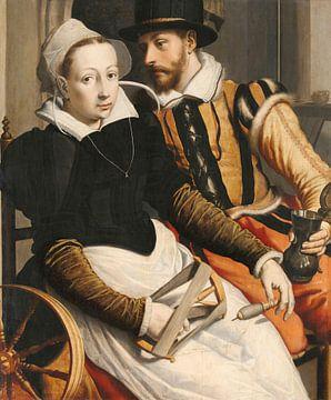 Man en vrouw bij een spinnewiel, Pieter Pietersz