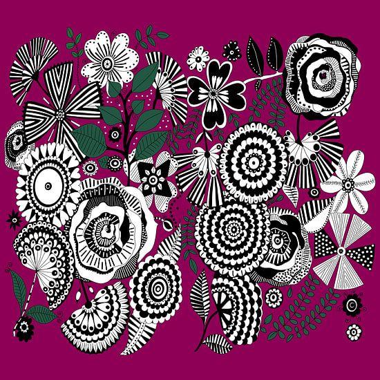 Blumen Muster in schwarz weiß