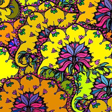 GRAFISCHE PRINT FLORA 1 van Marijke Mulder