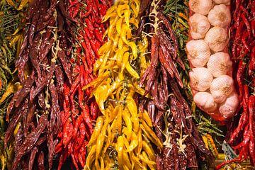 Paprika, Knoblauch, bunt, Gemüse, Obst, Markt von Leo van Maanen