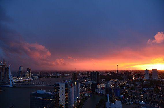 Rotterdam onder ondergaande zon bezocht door Cruise Boot Rotterdam